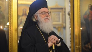 His Holiness Patriarch Kirill greets Primate of Albanian Orthodox Church with his Name Day